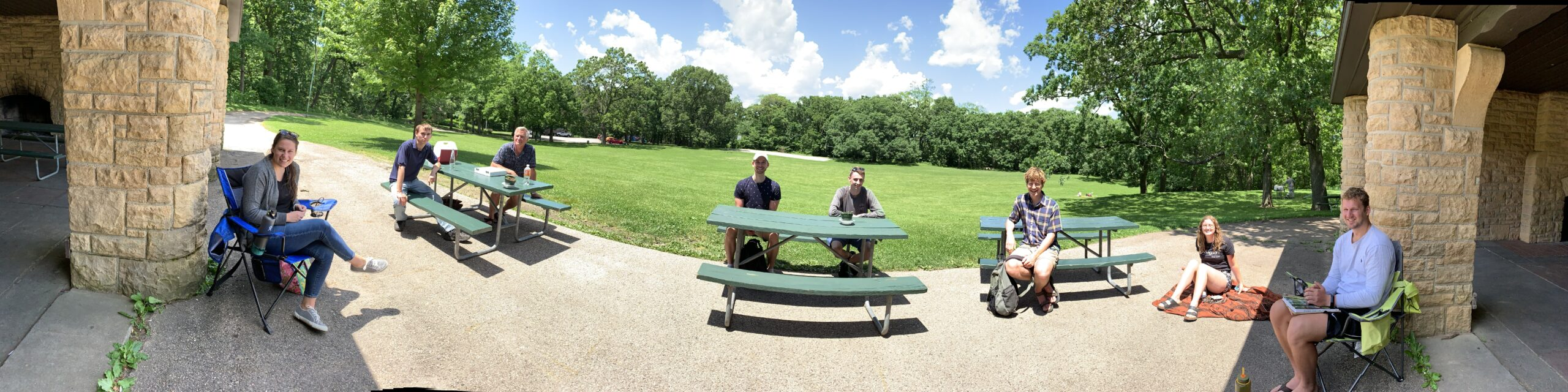 JRG celebrates Braeden's graduation with a socially distant lunch in the park, Jahn Research Group, Molly Jahn
