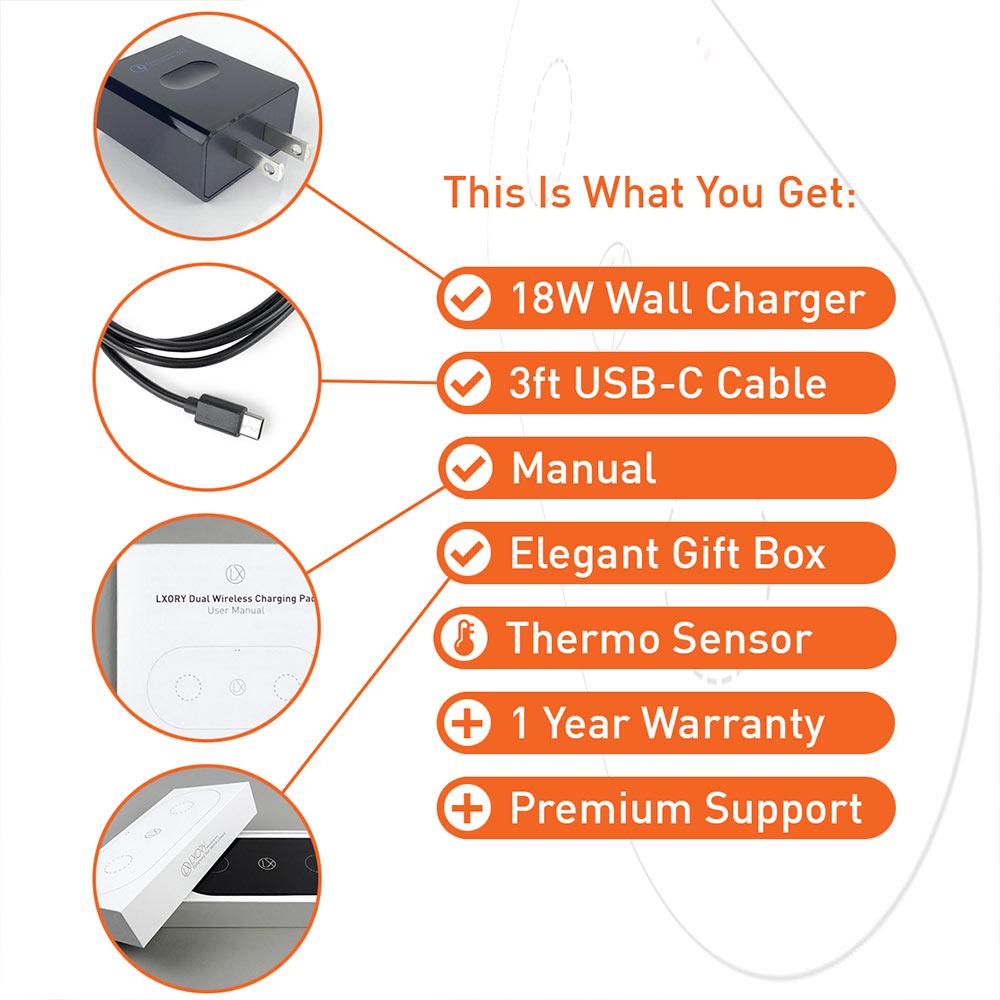 lxory dual wireless charger black US plug