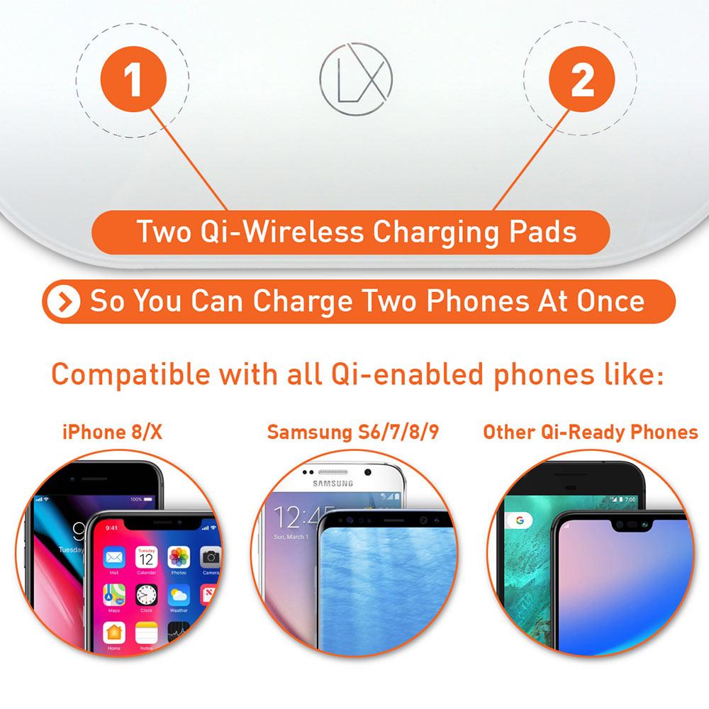 lxory dual wireless charger US plug