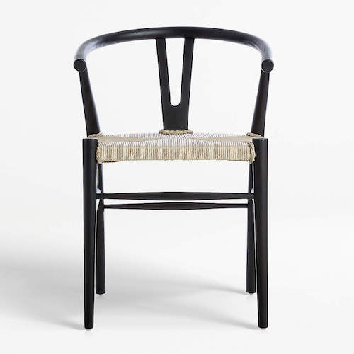 Crescent Black Rush Dining Chair