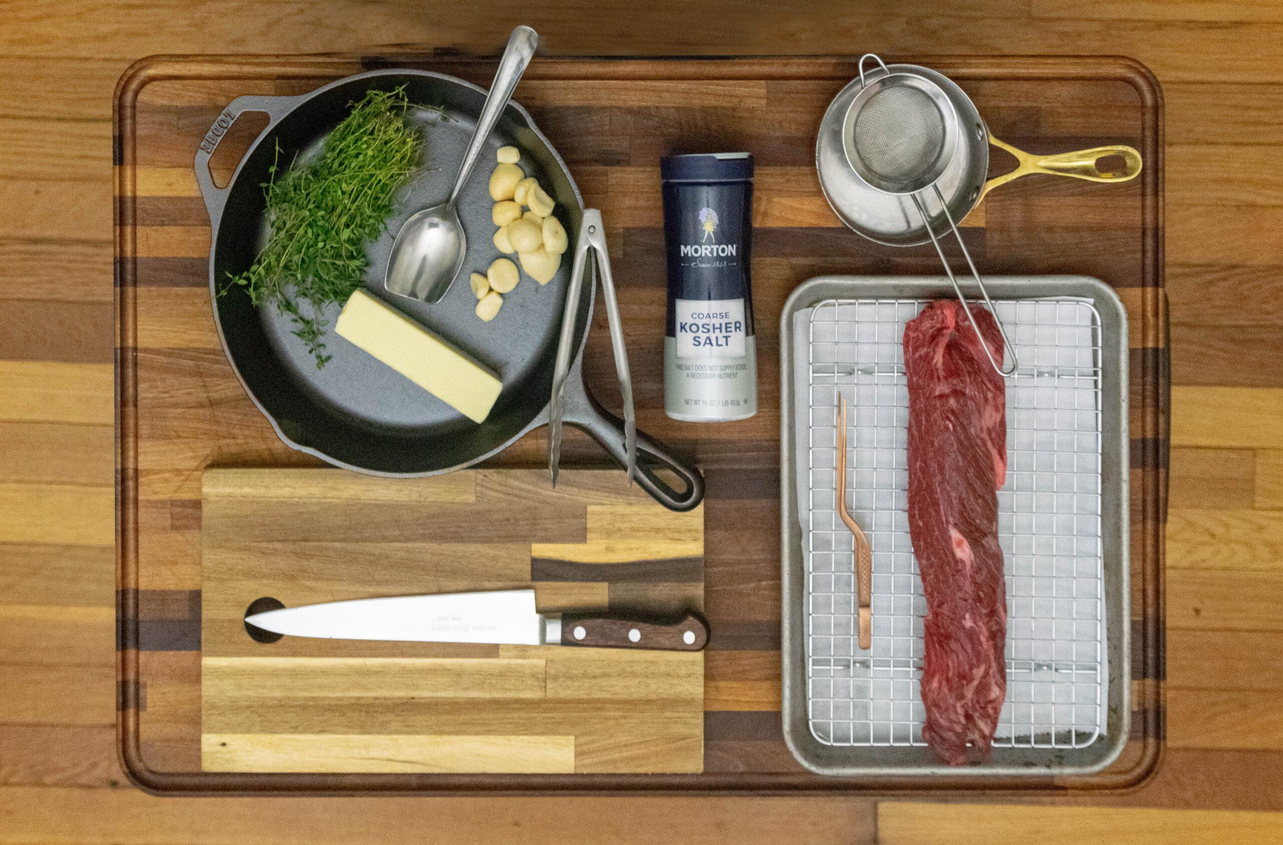 personal chef cooking secrets steak set up