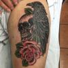 skull,bird, rose