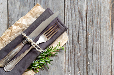rustic place setting on wooden table