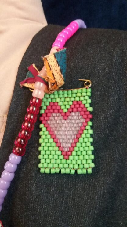 Red and Pink Peyote Stitch Flag on Pin