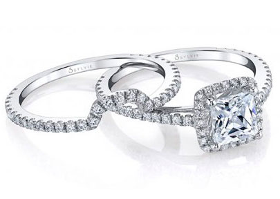 Wedding Bands in Silver and Diamonds from Sylvie