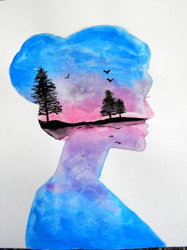 watercolor sihlouette