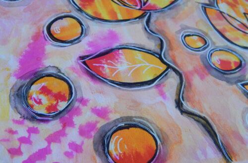 Mixed Media Art Journal Yellow & Pink Mermaid Marker Page