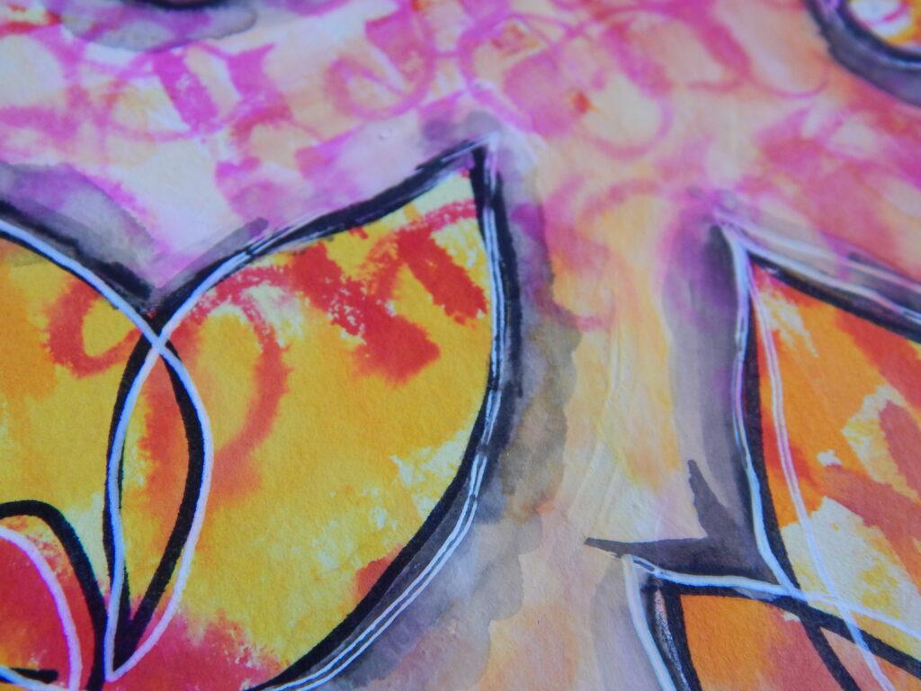 Mixed Media Art Journal Yellow & Pink