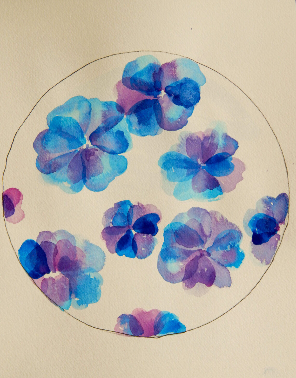 Watercolor Blue Petals