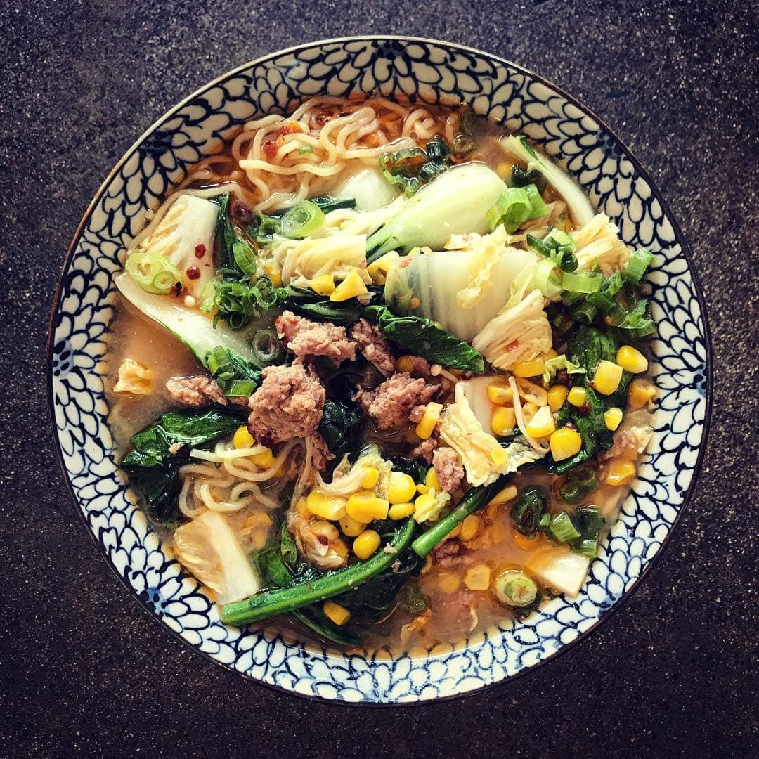 Spicy ground pork ramen With all the local corn, greens in a miso broth