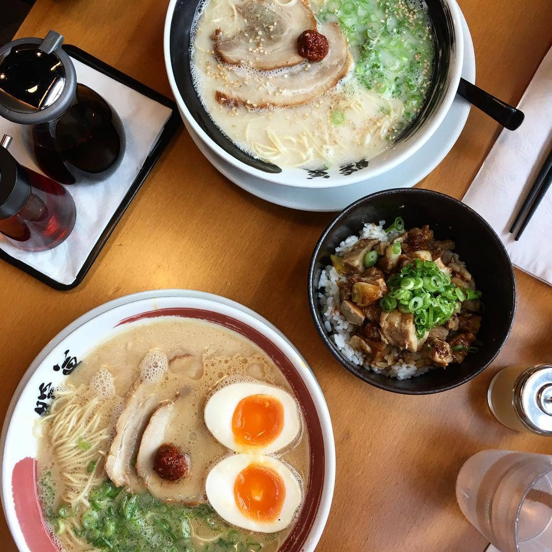 ramen bowls with eggs, broth, chasiu and side dish