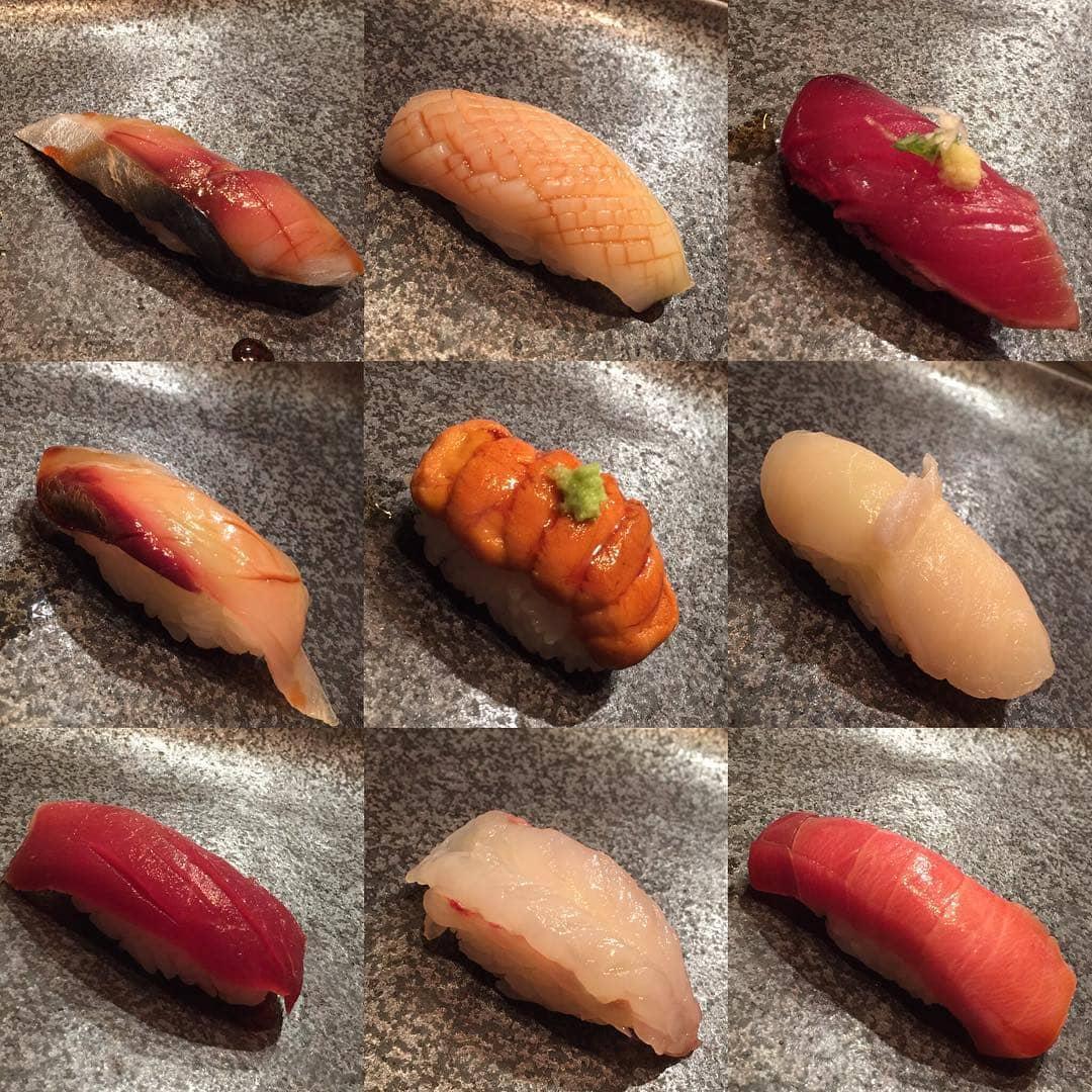 various sushi pieces otoro