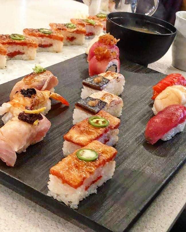 Aburi oshi salmon sushi