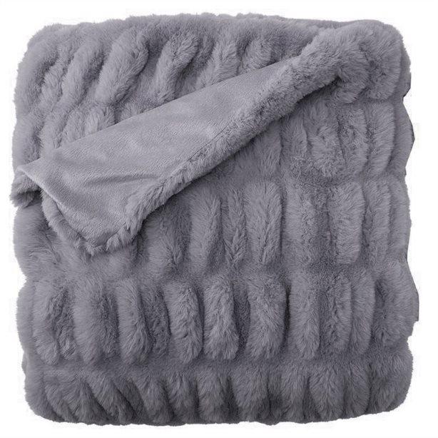 Indigo ruched faux fur thrrow blanket