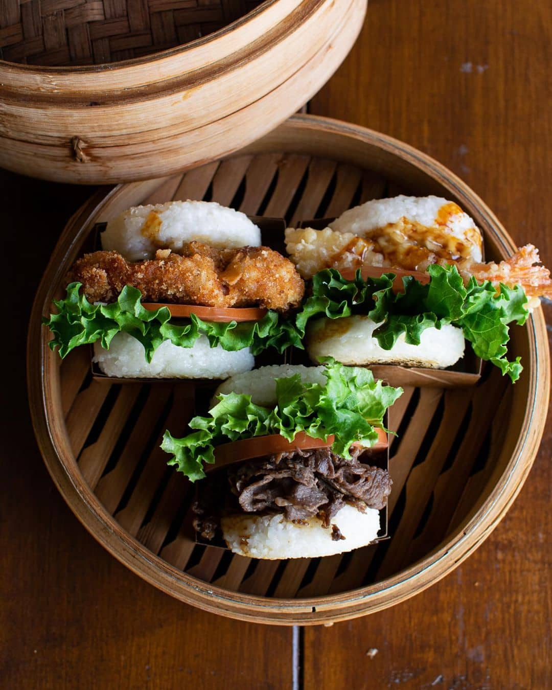 Rice Burgers in basket