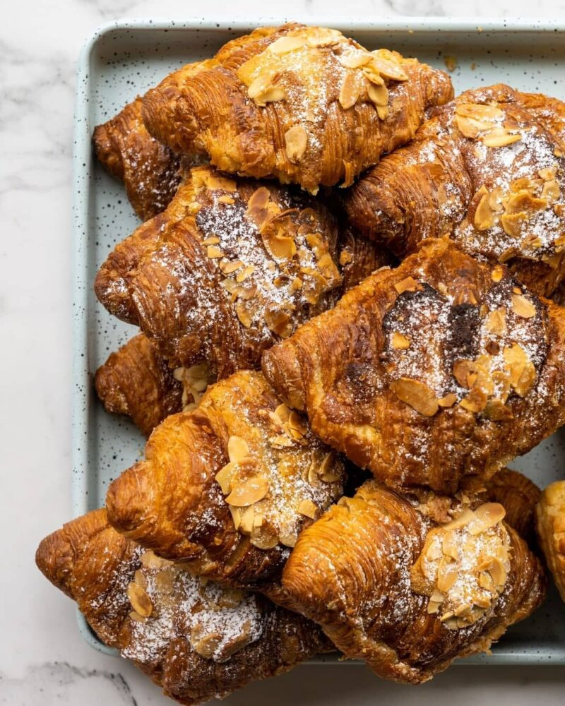 almond croissants stacked