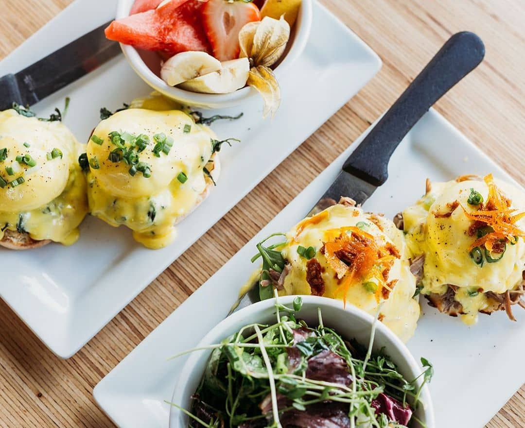 egg benedicts and salad