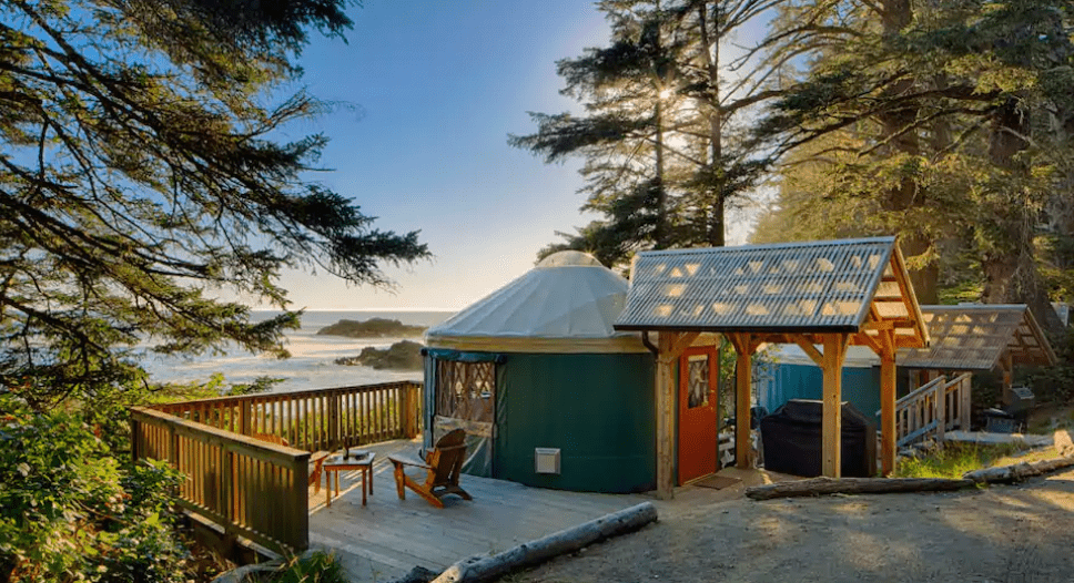 Best airbnb in B.C. small oceanfront yurt