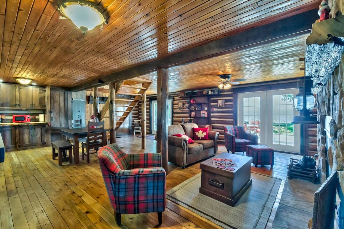 cool ontario airbnb Canadian Lakefront Cabin with Fireplace