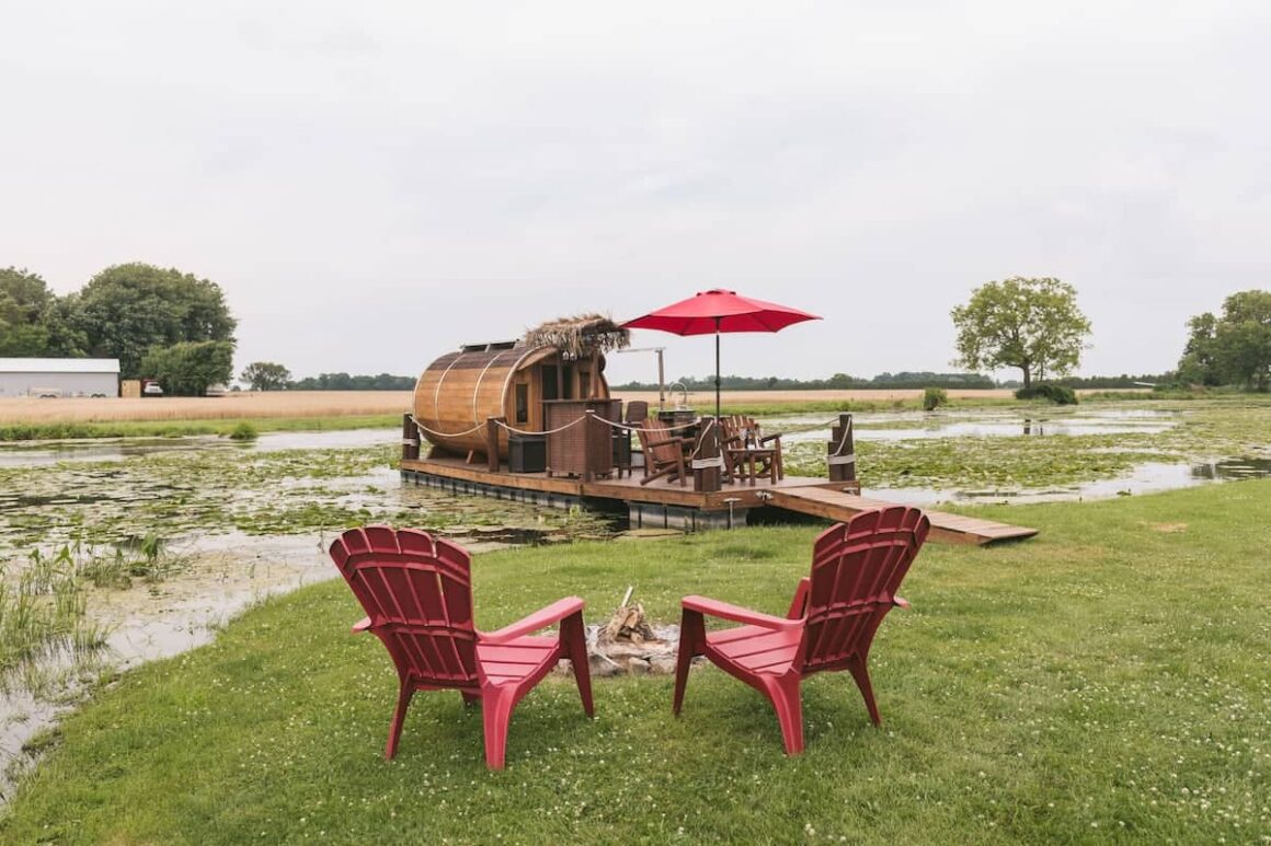 cool ontario airbnb Floating Panoramic Wine Barrel Cabin on Wine Route