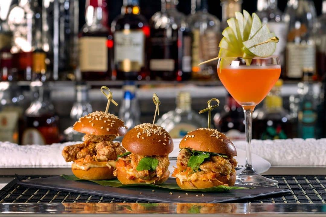 best restaurants and food in whistler bearfoot bistro bar with 3 burger sliders and drink