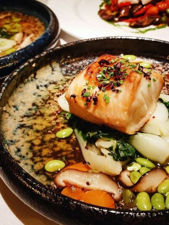 best seafood in vancouver - blue water cafe miso salmon on a plate