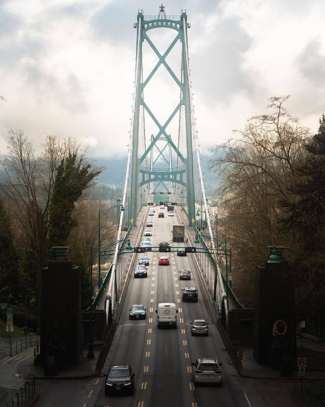 lonsdale quay travel guide -lions gate bridge with cars moving
