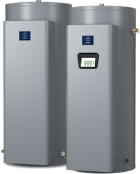 Two silver tank electric water heaters with labels from State Water Heaters on the One Stop Plumbing water heater page