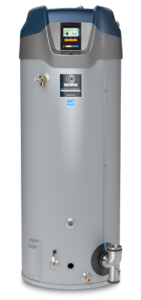 A silver tank gas water heater with labels from State Water Heaters on the One Stop Plumbing water heater page