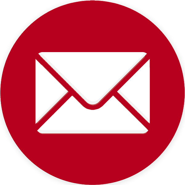 White envelope outlined in red in a red circle with a link to One Stop Plumbing's email address