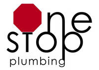 One Stop Plumbing logo used in the website header in black and red
