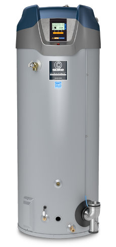A silver tank gas water heater with labels from State Water Heaters on the One Stop Plumbing gas appliances page