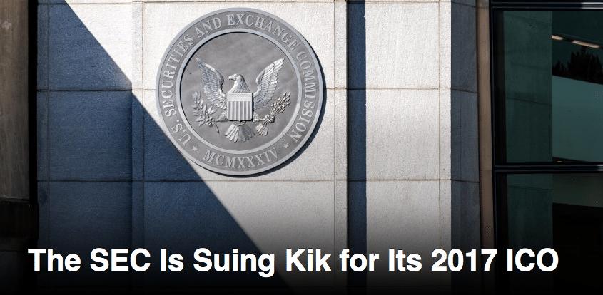 Kik Sued by SEC for Illegal Token Sale