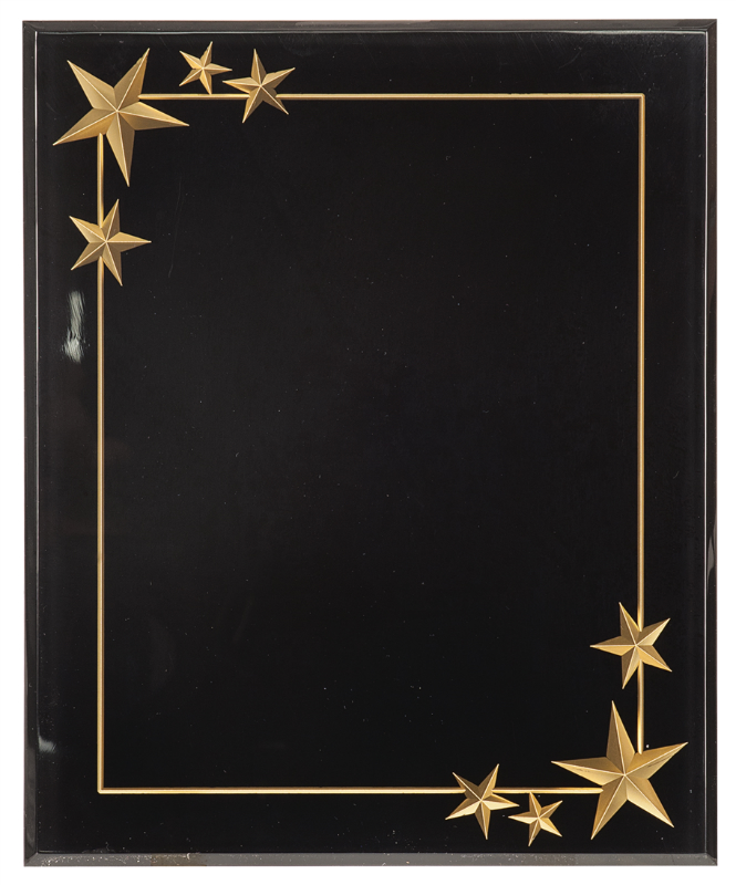 BLACK CARVED STAR ACRYLIC PLAQUE