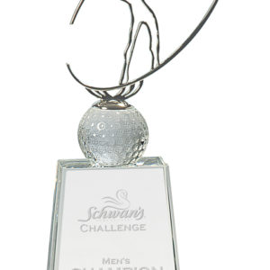 """12"""" GOLF SILHOUETTE ON CLEAR CRYSTAL"""