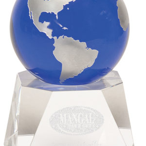 "6 1/2"" BLUE CRYSTAL GLOBE ON CRYSTAL BASE"