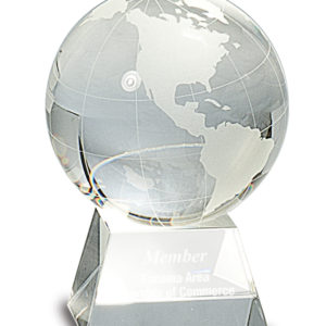 "4 1/2"" CRYSTAL GLOBE ON CLEAR CRYSTAL BASE"