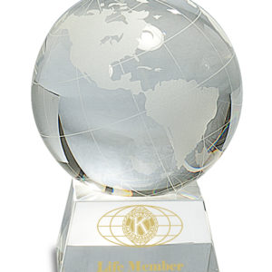 "6"" CRYSTAL GLOBE ON CLEAR CRYSTAL BASE"