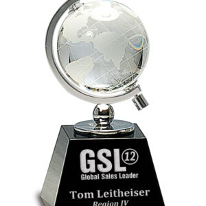 "6"" PREMIER CRYSTAL GLOBE ON BLACK BASE"