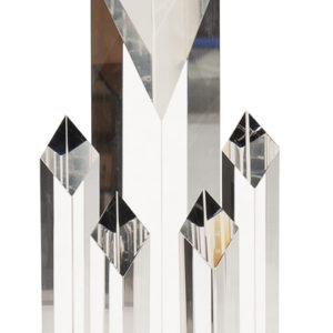 "11"" CRYSTAL 5 POST DIAMOND ON BLACK PEDESTAL"