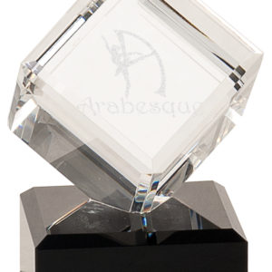 "5 1/2"" CRYSTAL CUBE ON BLACK PEDESTAL BASE"