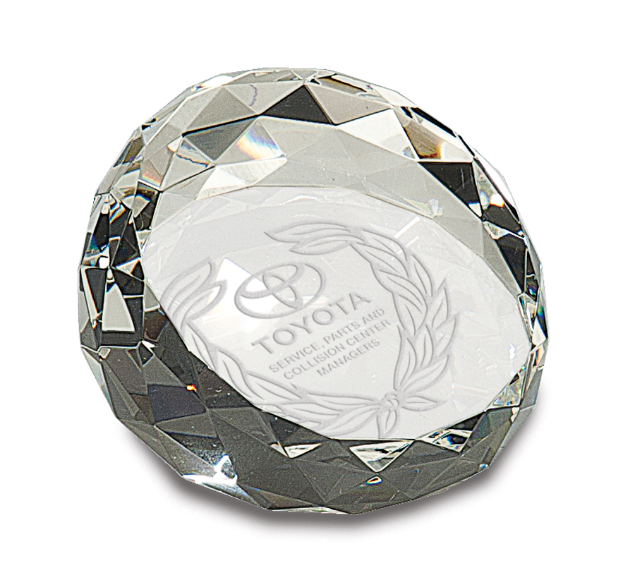2 X 3 1/2 CRYSTAL FACETED PAPERWEIGHT
