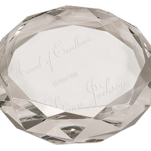 7/8 X 3 CRYSTAL ROUND FACETED PAPERWEIGHT