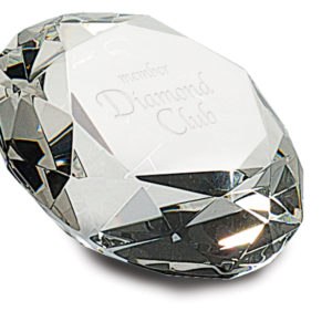"4"" PREMIER CRYSTAL DIAMOND PAPERWEIGHT"