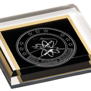 3 3/4 X 3 3/4 SOLID BLACK ACRYLIC PAPERWEIGHT