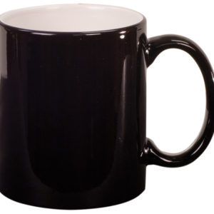 11 OZ BLACK ROUND LAZERMUGS