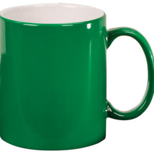 11 OZ GREEN ROUND LAZERMUGS