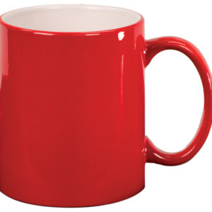 11 OZ RED ROUND LAZERMUGS