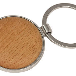 ROUND SILVER/WOOD KEY CHAIN