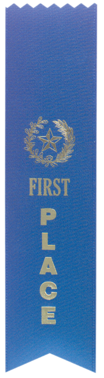 """1ST PLACE BLUE """"PINKED TOP"""" RIBBON"""